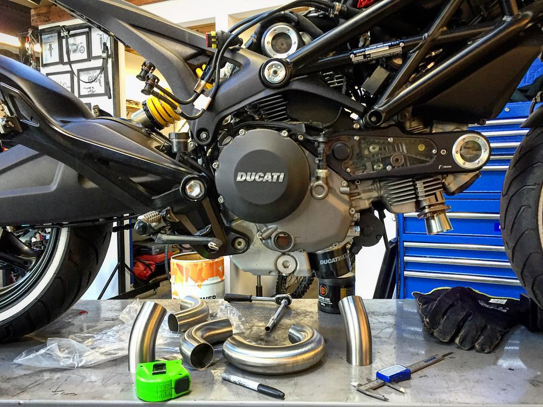 Custom Ducati monster exhaust in progress      | SPLURJJMAG