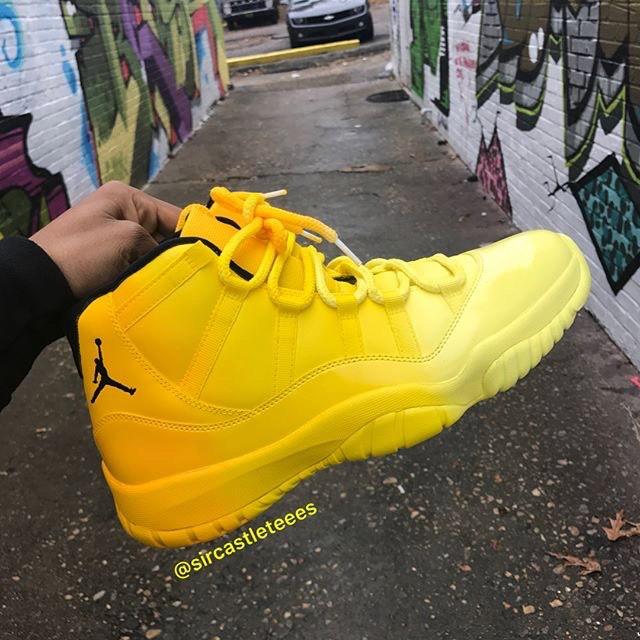 Custom Yellow Air Jordan 11 Via